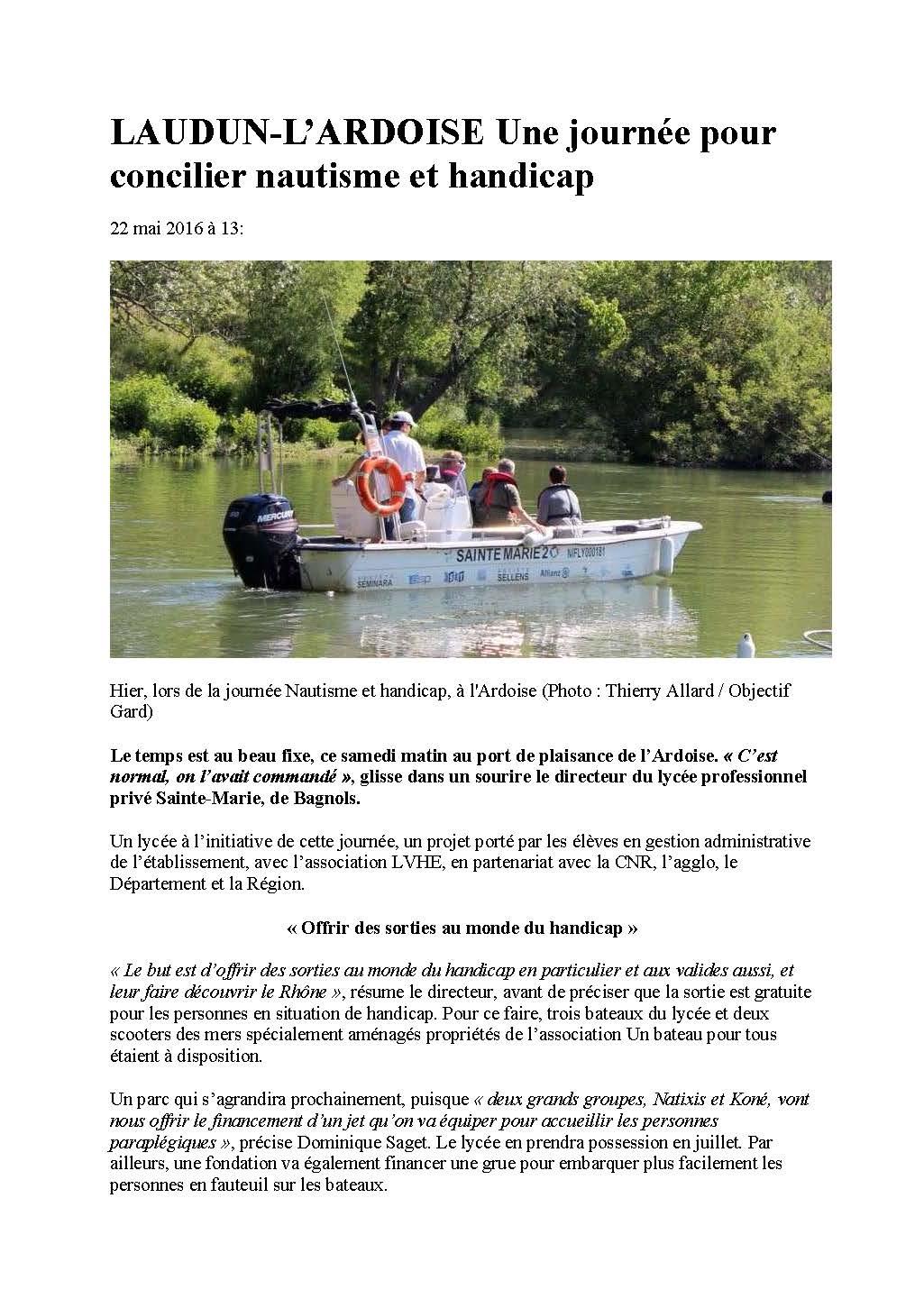 Objectif Gard LAUDUN-L'ARDOISE Une journée pour concilier nautisme et handicap 22-05-2016_Page_1